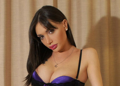 TS Mariana Cordoba Purple Bra Strip Tease
