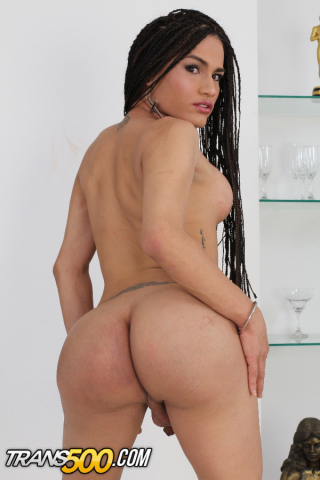 Latina tgirl Milagros Bejarano stripping and ass showing