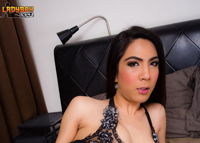 Asian ladyboy Jasmine with a blooming Cock